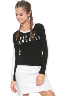 Camiseta Roxy Gangster Preta/Branca