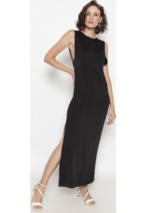 Vestido Com Fenda - Preto - Cotton Colors Extracotton Colors Extra