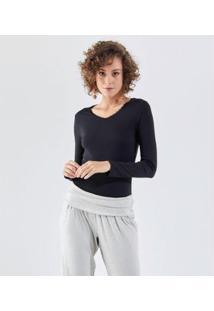 Camiseta Liz Easywear Camiseta Manga Longa Feminina - Feminino-Preto