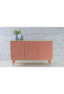 Aparador Buffet Com Prateleira E 3 Portas Sideral Natural E Rosa Coral 133X40X79,5 Cm