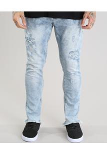 Calça Jeans Carrot Destroyed Azul Médio