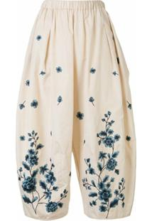 Biyan Calça Pantalona Pryn Com Bordado Floral - Marrom
