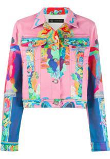 Versace Jaqueta Jeans Com Estampa - Rosa