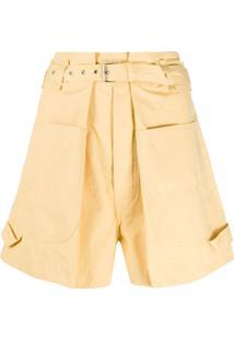 Isabel Marant Bermuda Com Pregas E Modelagem Larga - Amarelo