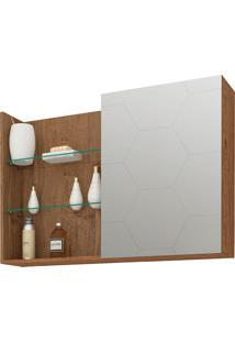 Espelheira Para Banheiro Com 1 Porta E 3 Prateleiras 80Cm Jasmin-Mgm - Amendoa
