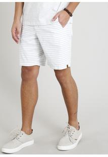 Bermuda Masculina Listrada Com Cordão Branca