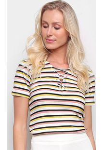Blusa Drezzup Listrada Feminina - Feminino-Amarelo+Preto