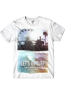 Camiseta Long Beach Coleção Praias Vamos Surfar Santa Monica Sublimada Masculina - Masculino-Branco