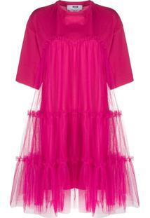 Msgm Vestido Reto Com Franzido - Rosa