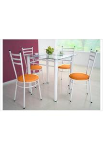Jogo De Mesa Tulipa Branco Com 4 Cadeiras Com Assento Corino Laranja - Marcheli