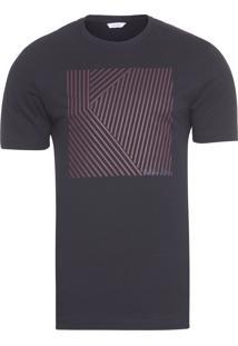 Camiseta Masculina Slim Mosaico Quadrado - Preto