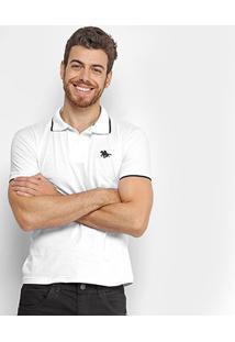Camisa Polo Rg 518 Malha Friso Logo Masculina - Masculino-Branco+Preto