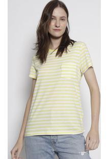 Camiseta Listrada Com Bolso - Branca & Amarelalevis