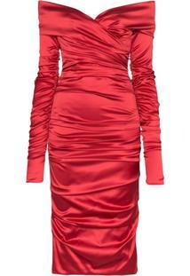 Dolce & Gabbana Vestido Midi Drapeado Em Cetim - Vermelho