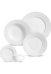 Aparelho De Jantar E Chá Porto Brasil Roma 30Pçs Branco