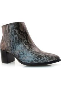 Ankle Boots De Couro E Cobra Suzzara