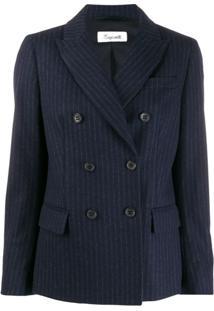 Brag-Wette Striped Double Breasted Blazer - Azul