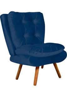 Poltrona Decorativa Tolucci Suede Azul Marinho Com Pés Palito - D'Rossi