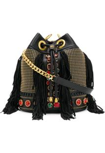 La Carrie Embellished Leather Shoulder Bag - Preto