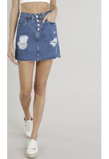 CEA. Saia Jeans Feminina Evasê Destroyed Com Barra Desfiada Azul Escuro 2dc2dbacfec