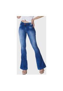 Calça Jeans Hno Jeans Flare Pesponto Azul