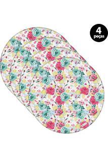 Sousplat Mdecore Floral 32X32Cm Azul 4Pçs