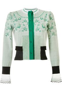 Mame Kurogouchi Cardigan De Tricô Com Sobreposição - Verde