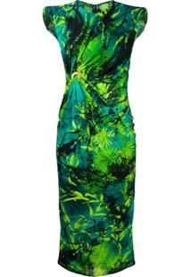 Versace Vestido Sem Mangas Franzido Com Estampa De Selva - Verde
