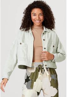 Jaqueta Feminina Em Tecido De Veludo Cotelê Com Bolso