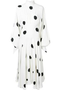 Christopher Kane Vestido Gola Alta Com Poás - Branco