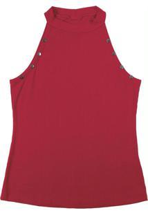 Blusa Sem Manga Em Tecido Canelado Vermelho