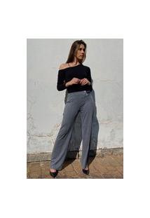 Calça Pantalona Amazonia Vital Malha Com Botão Madrepérola E Bolso Mescla