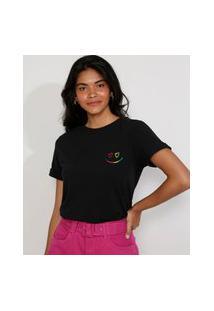"Camiseta Feminina Manga Curta Pride Love Wins"" Decote Redondo Preta"""