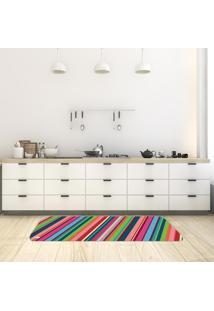 Tapete De Cozinha Mdecore Listrado Colorido 40X120Cm
