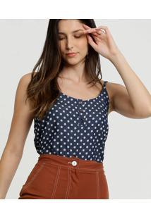 Blusa Feminina Jeans Bolinhas Alças Finas Gups