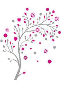 Adesivo De Parede Floral- Rosa & Cinza- 60X90Cm-Evolux