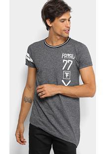 Camiseta Fatal Estampada Assimétrica Alongada Masculina - Masculino-Chumbo