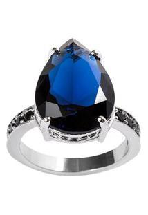 Anel Gota The Ring Boutique Pedra Cristal Azul Safira Ródio Ouro Branco