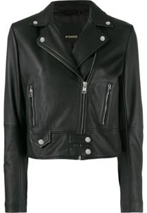 Pinko Classic Leather Jacket - Preto