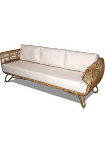 Sofa Tempe 3 Lugares Assento Cor Branco Com Base Aluminio Revestido Em Junco - 44790 - Sun House