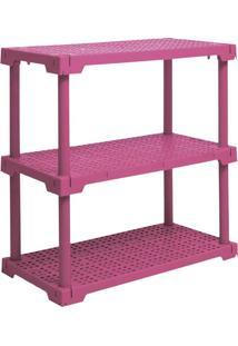 Estante Cube Com 3 Prateleiras Rosa