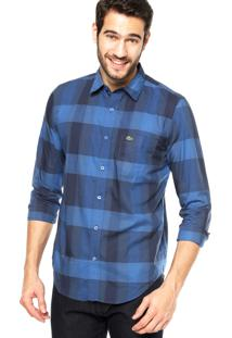 Camisa Manga Longa Lacoste Regular Fit Quadriculada Azul