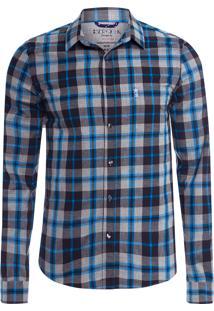 Camisa Masculina Xadrez Mescla Azul - Cinza