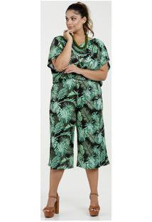 Macacão Feminino Estampa Folhas Pantacourt Plus Size