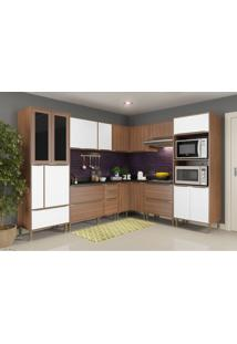 Cozinha Compacta Multimoveis Calabria 5461 Nogueira Branco Se