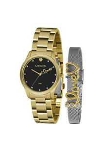 Kit Relógio Feminino Lince Analógico Lrg4668L Kz97P1Kx + Pulseira Dourado