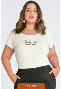 Blusa Plus Size Decote Redondo Branco