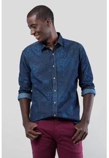 Camisa Jeans Reserva Regular Abais Masculina - Masculino-Marinho