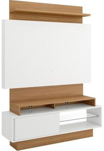 Rack Com Painel Andorra Com Led 1,40 Mt Cor Off White Com Freijo - 39691 - Sun House