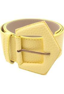 Cinto Birô Básico Duas Costuras Feminino - Feminino-Amarelo